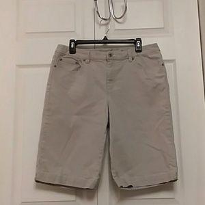 Chico's Platinum Gray Denim Bermuda Shorts